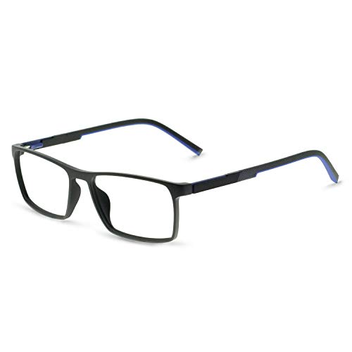 0c47cb0e0ac3 OCCI CHIARI TR90 Men s Glasses Frame Fashion Non Prescription Eyeglasses  Rectangular Lightweight Eyewear RX (W-Black+Blue)