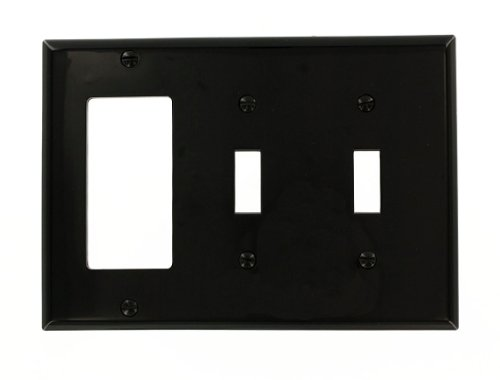 Leviton 80745-E 3-Gang 2-Toggle 1-Decora/GFCI Device Combination Wallplate, Standard Size, Black 3 Gang 2 Toggle