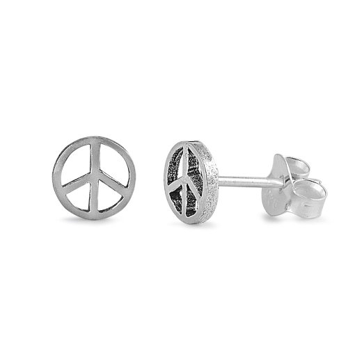 Sterling Silver Peace Sign Stud ()