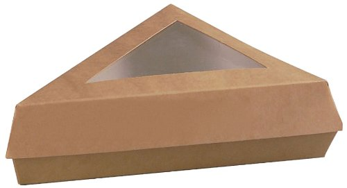 PackNWood 209PATTRIBR Kraft Slice Box with Window Lid - 12 oz - 6.6 X 6.6 X 5.1'' - 200 per case