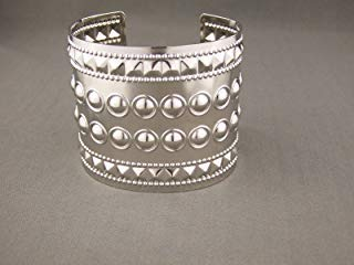 Shiny Silver tone metal bangle cuff 2.25 wide bracelet pyramid stud rivet ()