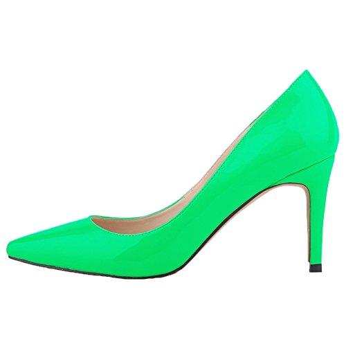 HooH Femmes Pointu Stiletto Chaussures De Mariage Escarpins Vert 2EkkmGk0h