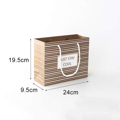 Xiaogongju 1Pc Brown Point Simple Birthday Gift Bag Paper Large Gift Box Reticule Holiday Party Supplies Stripe M Other
