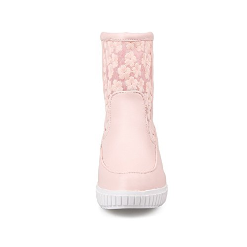 AmoonyFashion Womens Low-Top Pull-On Soft Material Kitten-Heels Round Closed Toe Boots Pink KOP84DH