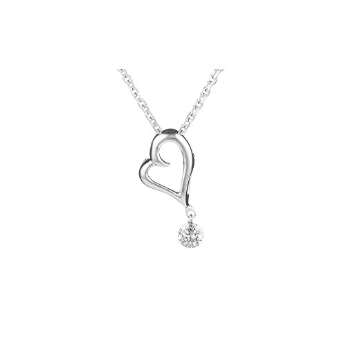 - 0.05-0.10 Cts SI2 - I1 clarity and I-J color Diamond Solitaire Dangling Heart Pendant in 18K White Gold