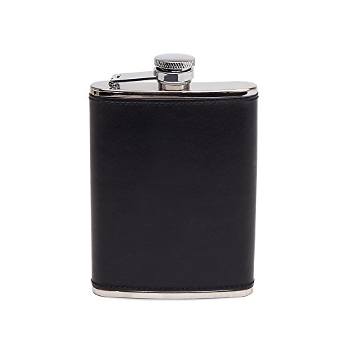 Ettinger Lifestyle Collection Captive Top Leather Bound Hip Flask, 6 Ounces - Black/Silver