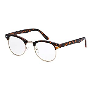 5zero1 Fake Glasses Half Frame Retro Fashion Men Women Nerd Classic Clear Lens Eyeglasses (Tortoise)
