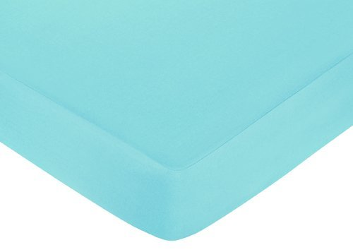 Sweet Jojo Designs Fitted Crib Sheet for Turquoise and Lime Hooty Owl Baby/Toddler Bedding - Blue ()