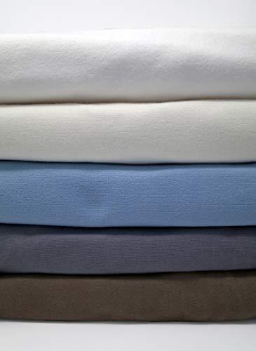 CinchFit Quahog Bay Bedding Maine Made Split Flex Top King No Tear Adjustable Bed Sheet Set Flannel 4PC 100% Cotton (Light Blue)
