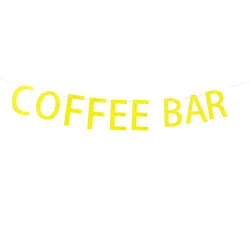 Coffee Bar Banner Hanging Decor for Wedding,Bachelorette,Fiesta Party Décor Gold Banner Pertlife by Pertlife