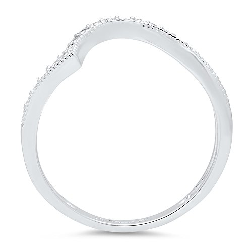 Clara Pucci 0.31 ct Brilliant Round Cut CZ Designer Curved Chevron V Shape Pave Ring Band in 14K White Gold by Clara Pucci (Image #2)
