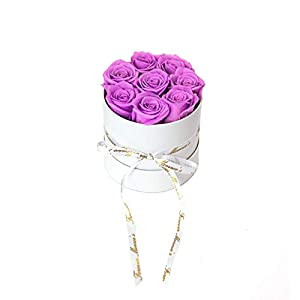 Forever Monroe's Preserved Violet Roses in a white round box, Long Lasting Luxury Roses that last a year 52
