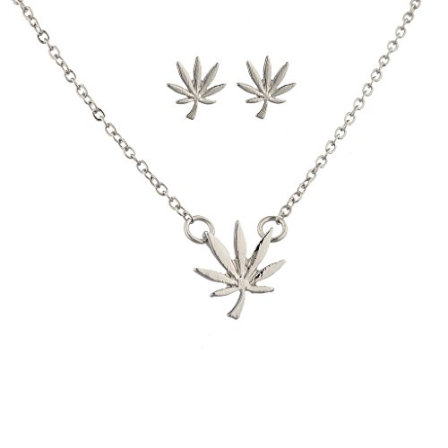 Lux Accessories Silvertone Marijuana Weed Symbol Necklace and Earring Set