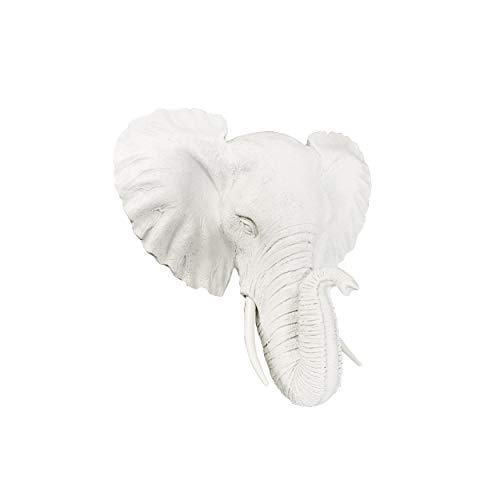 - Wall Charmers Mini White Faux Elephant Head Wall Hanging - 10