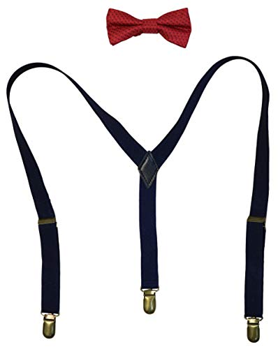 Vittorino Boys' Dress Shirt with Matching Bowtie and Suspenders Set
