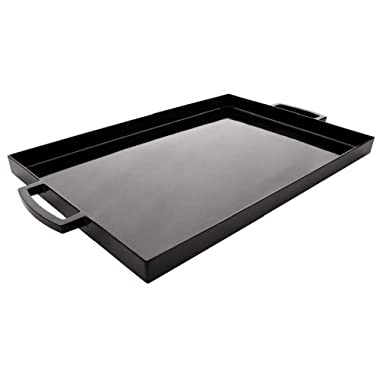 Zak! Designs MeeMe Rectangular Serving Tray, 19.5  by 11.5 , Break-resistant and BPA-free Plastic, Black