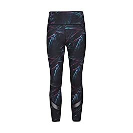 Mountain Warehouse Energy Patterned Womens Short Length Leggings – Quick Wicking Ladies Tights, Opaque Bottoms, Flattering Seam Lines – Best for Cycling & Sports Black 6