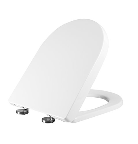 Ultra  Duroplast Anti-Bacterial White Soft Slow Close D Shaped Toilet Seat Quiet...