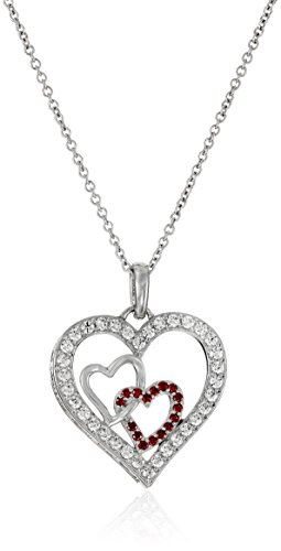 Platinum-Plated Sterling Silver and Swarovski Zirconia Three-Heart Pendant Necklace