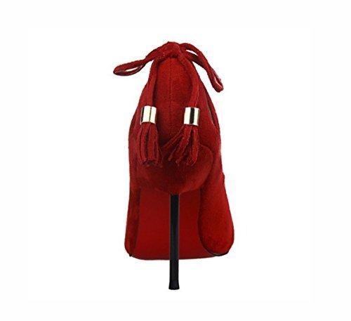 Die neuen Frau dünnen Wildleder hochhackigen Schuhe mit hohen Absätzen Anhänger Fersen , 37 , red