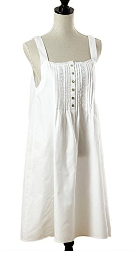 Handmade Embroidered and Pleated White Cotton Lady Nightg...