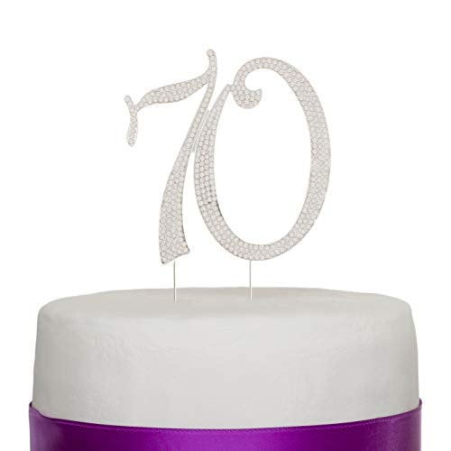 Ella Celebration 70 Cake Topper for 70th Birthday or Anniversary Rhinestone Number Party Supplies Decoration (Silver)]()
