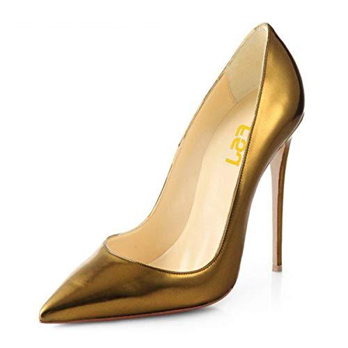 FSJ Women Fashion Pointed Toe Pumps High Heel Stilettos Sexy Slip On Dress Shoes Size 12 Gold