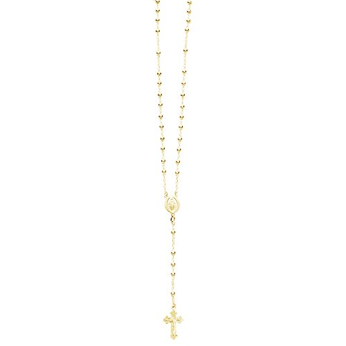 Sterling Silver Gold-tone Overlay Rosary Bead Necklace Virgin Mary Cross Made in Italy (24 - 24 Necklace Inch Silver Beads