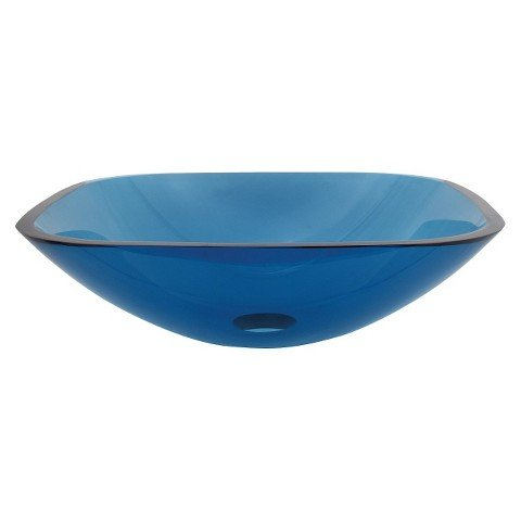 Tempered Glass Square Blue Bathroom Vessel Sink by Tempered