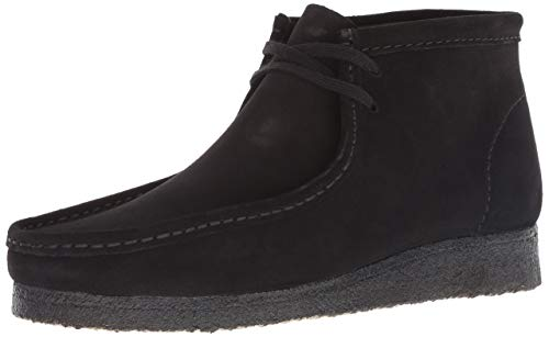 CLARKS Men's Wallabee Boot Chukka, Black Suede, 080 M US