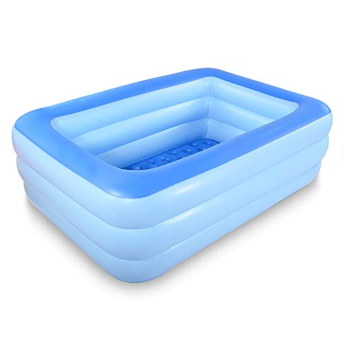 HIWENA Inflatable Family Swim Center Pool, 83 Gaint Swimming Pool Summer Water Fun with Inflatable Soft Floor (83 Blue)