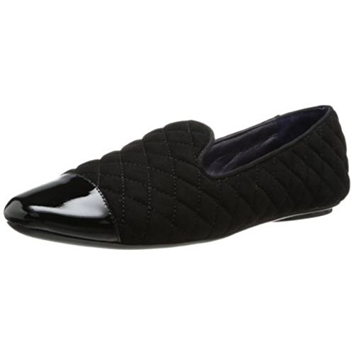 VANELi Women's Brucie Slip-On Loafer,Black Quilted Suede/Black Patent,8.5 M US