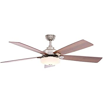 Home decorators collection cameron 54 led ceiling fan brushed nickel Home decorators petersford fan