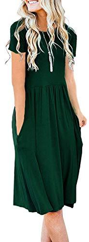 Pleated Empire Sweater - Naggoo Women's Summer Solid Dresses Short Sleeve T Shirt Swing Dresses Dark Green S