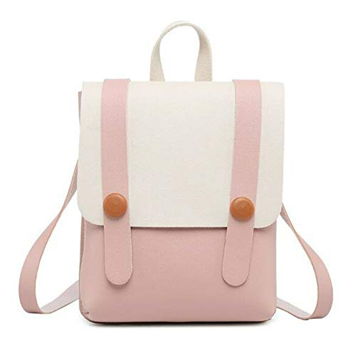 (2018 New Small Backpack Cover Type Color Ladies Slung School Bag Shoulder Purse (Color - Pink))