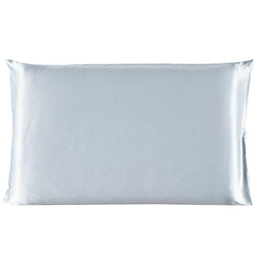 uxcell 100% Pure Mulberry Charmeuse Silk Pillowcase Pillow Case Cover for Hair & Skin 19 Momme Standard Size 20x26 Inch/51x66cm Silver Gray ()