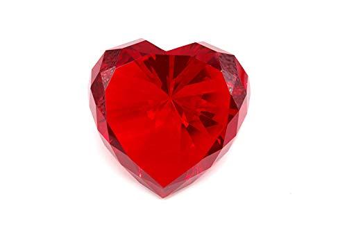 Diamond Jewel Paperweight 80mm Ruby Heart Shaped - Large Jewels Heart