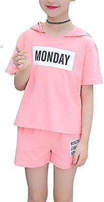 Conjunto de manga corta de verano para niñas 6-14 años Algodón Ropa de verano para niña Estampado con letras Camiseta deportiva con capucha y Conjunto de ropa corta Cuello redondo Camiseta transpirabl: