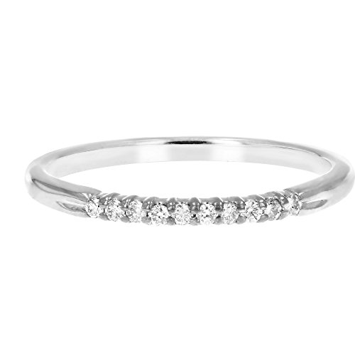 1/10 ctw Petite Diamond Wedding Band in 10K White Gold In Size 6.5