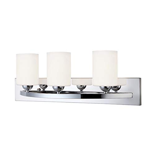 (Canarm LTD IVL370A03CH-O Hampton 3 Light Vanity, Chrome with Flat Opal Glass )