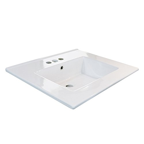 "eclife 24"" Drop in Rectangle 3 Holes White Ceramic Bathroom Sink Top with Overflow Under Counter Console Sink (T01)"