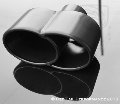Black Powder Coated Exhaust Muffler Tip Quad Fused Oval Rolled Edge 2.25'' Inlet / ID, 7.35X3.25'' Outlet / OD, Red Tail Performance #RTP-027 by Mina Gallery