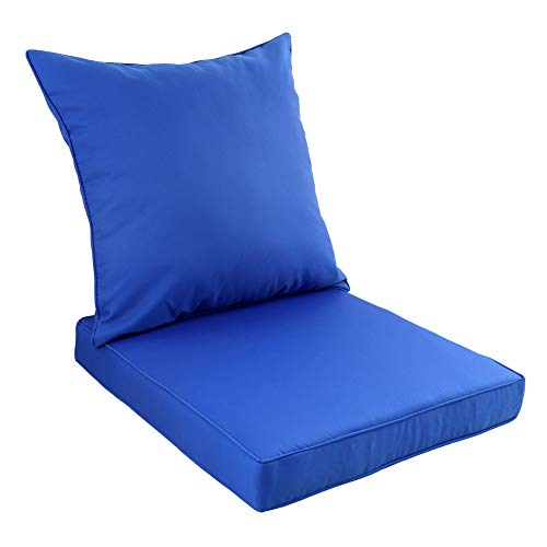 Chair Seat Cushion Deep - Rattaner Deep Seat Chair Cushions Set-Outdoor Replacement Cushion for Patio Furniture with Waterproof Fabric,Royal Blue