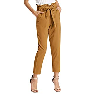 GRACE KARIN Women Pants Trouser Casual Cropped Paper Bag Waist Pants with Pockets L Yellow