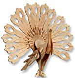 ETbotu 3D Wooden Puzzle Peacock Animal Assembly Puzzle Model Toy for Kids and Adults of 59 Interlocking Pieces.