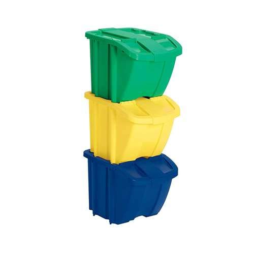 Suncast Recycle Bin Kit - Stackable Organizer Stores Recyclables, Tools and Toys - Storage Bin with Front Flap Ideal for Dry Storage - - Bins Handling Material