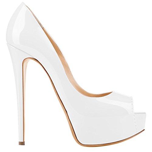 best sneakers fe480 bcdad MONICOCO Übergröße Damenschuhe Mehrfarbig Peep-Toe High Heels Pumps mit  Plateau