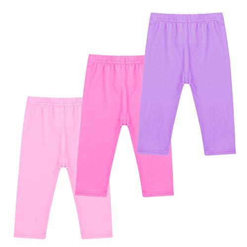 - Soft Capri Leggings Girls Cotton Cropped Tights 3-Pack Summer Leggings for School Play (2T-3T, Pink, Rose, Purple)
