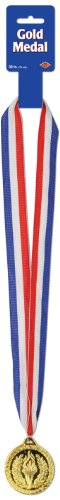 Ribbon Medallion (Beistle 12-Pack Gold Medal with Ribbon, 30-Inch)