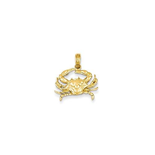 14k Crab Pendant (Roy Rose Jewelry 14K Yellow Gold Blue Crab Pendant)